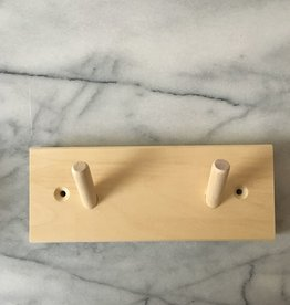 Swedish Birch Peg Rack with 2 Pegs - 7.5 in