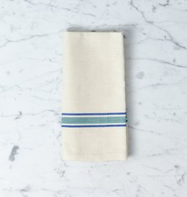 TENSIRA Handwoven Cotton Napkin - Off White with Blue + Green French Stripe - 19 x 19 in