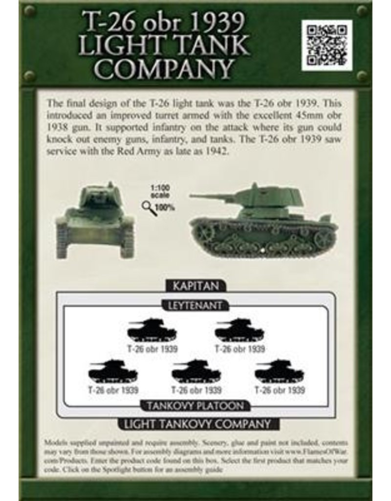 Flames of War SBX22 T-26 obr 1939 Light Tankovy Company