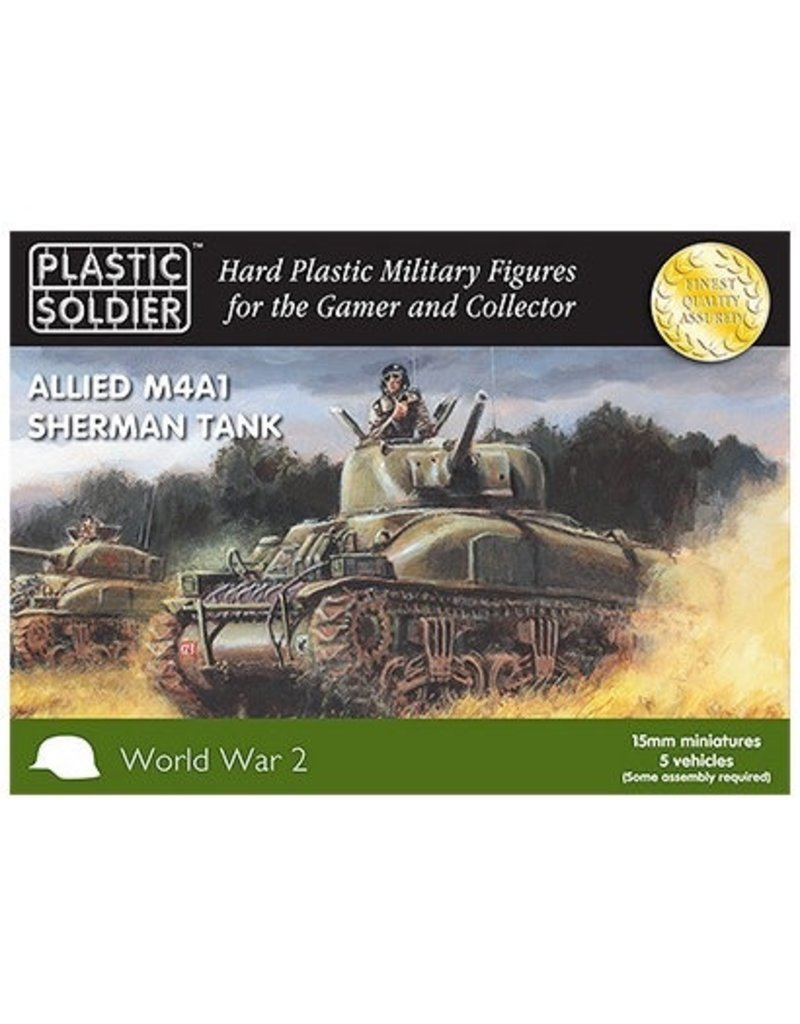 Plastic Soldier Company Allied M4A1 75mm Sherman Tank (5pcs)