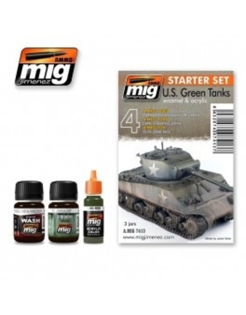 AMMO: of Mig Jimenez DIRECT A.MIG-7413 US Green Vehicles Set