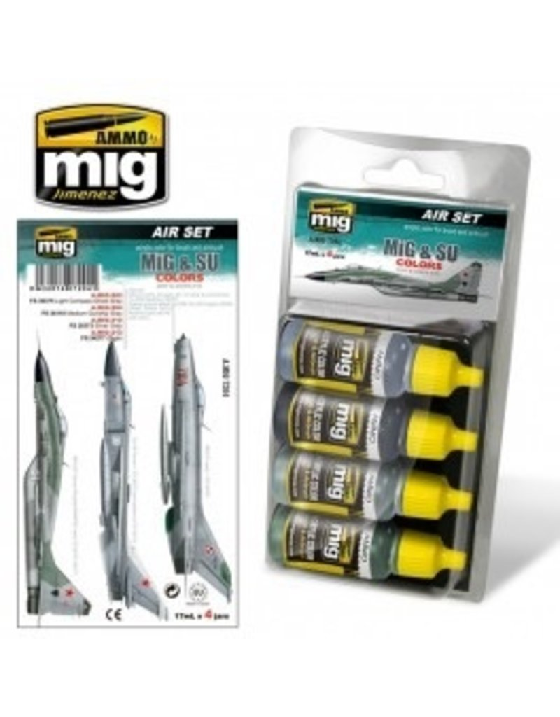 AMMO: of Mig Jimenez A.MIG-7204 MiG & SU COLORS Grey & Green Fighters