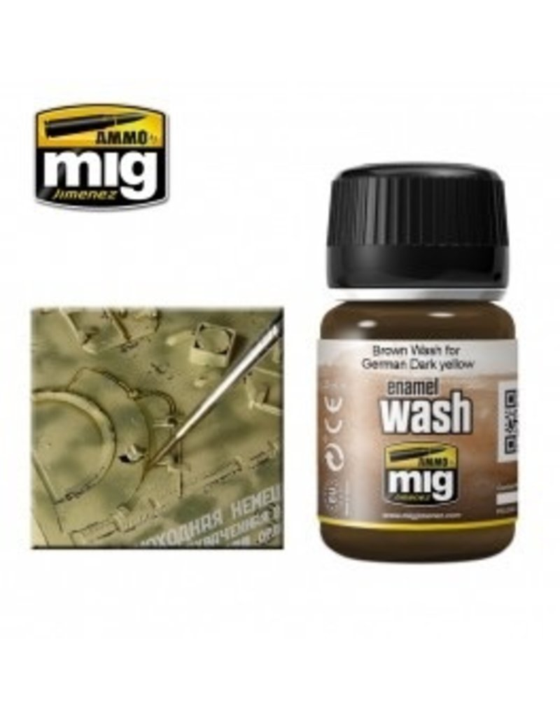 AMMO: of Mig Jimenez A.MIG-1000 BROWN WASH FOR GERMAN DARK YELLOW