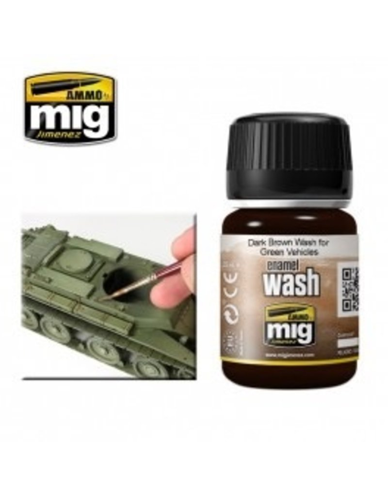 AMMO: of Mig Jimenez A.MIG-1005 DARK BROWN WASH FOR GREEN VEHICLES