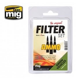 AMMO: of Mig Jimenez A.MIG-7452 FILTER SET FOR GREEN VEHICLES