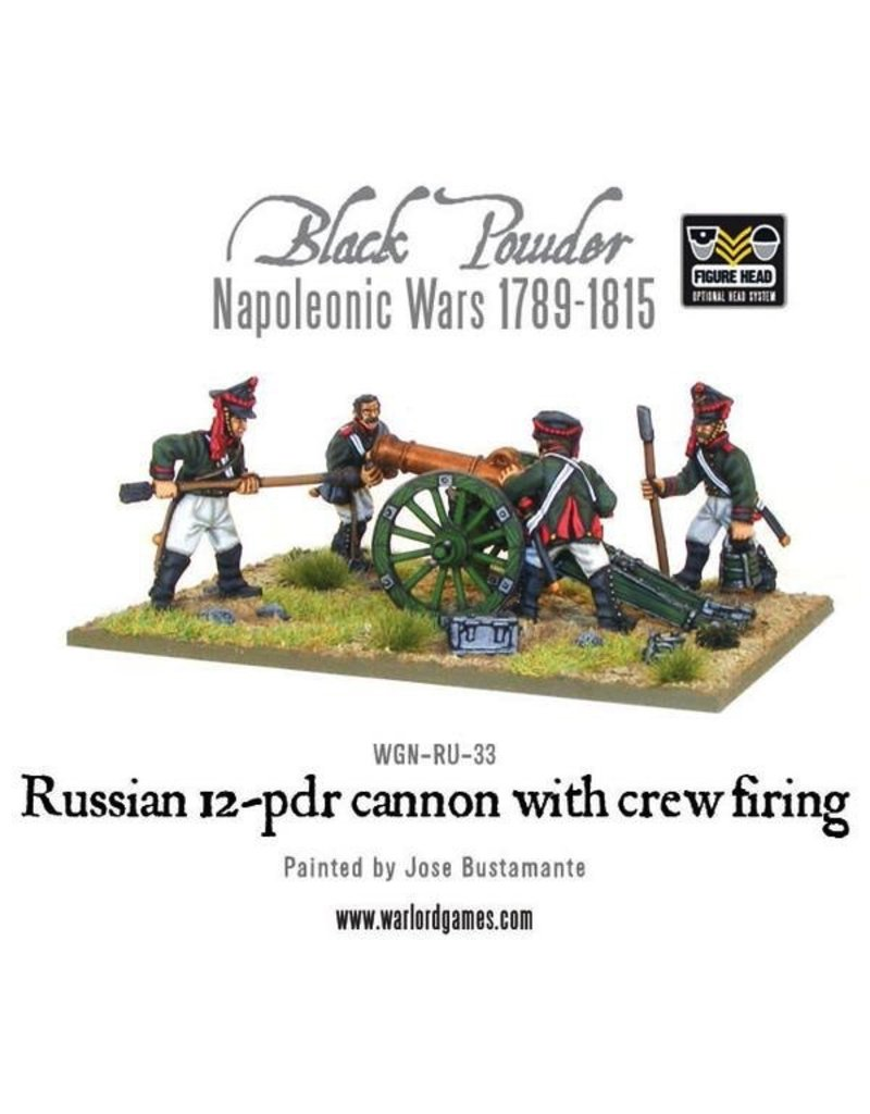 Warlord Games Napoleonic Russian 12 pdr Cannon with Crew Firing (1809-1815)