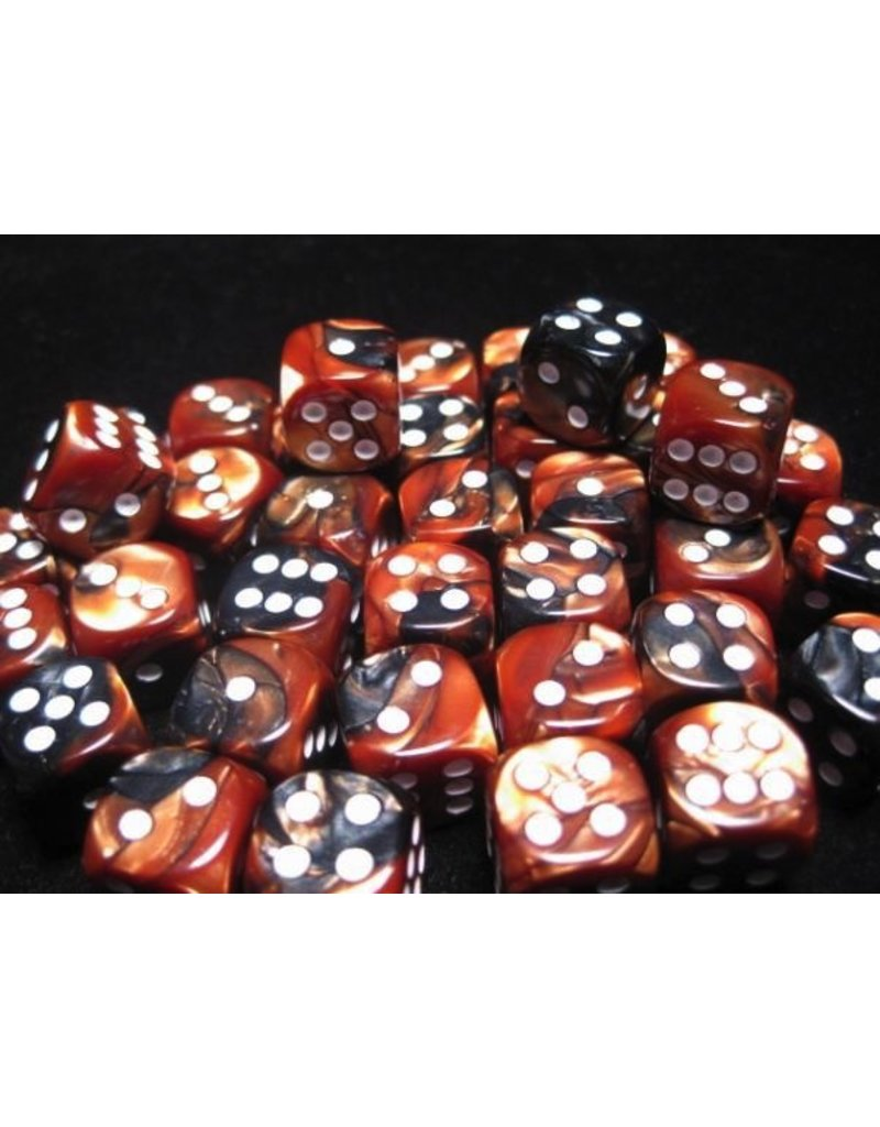 Chessex CHX26827 12mm d6 Gemini Black-Copper with White