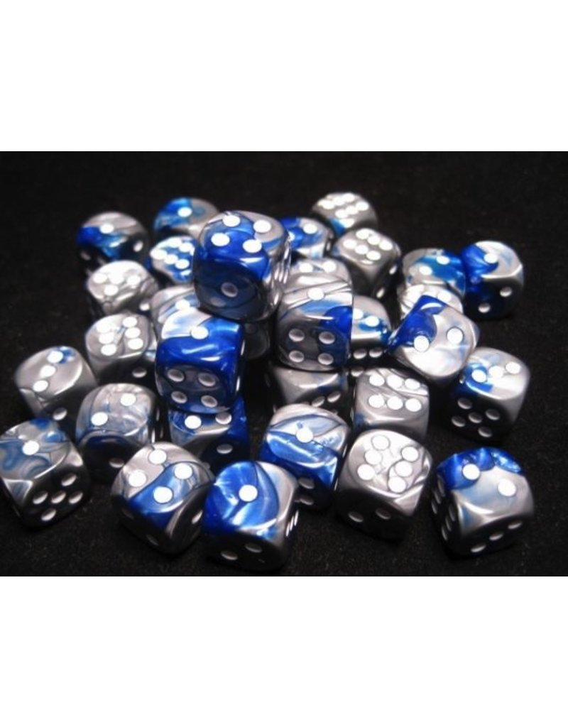 Chessex CHX26823 12mm d6 Gemini Blue-Steel with White