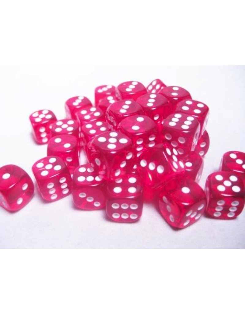 Chessex CHX23804 12mm d6 Translucent Red with White
