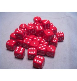 Chessex CHX25804 12mm d6 Opaque Red with White