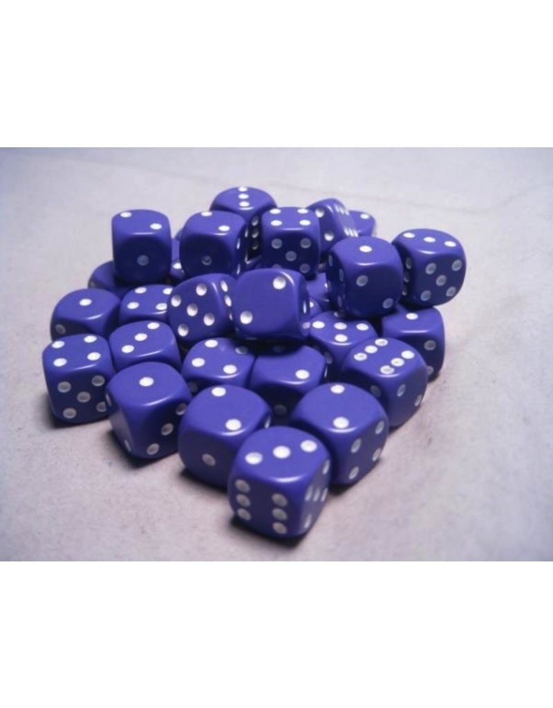Chessex CHX25807 12mm d6 Opaque Purple with White