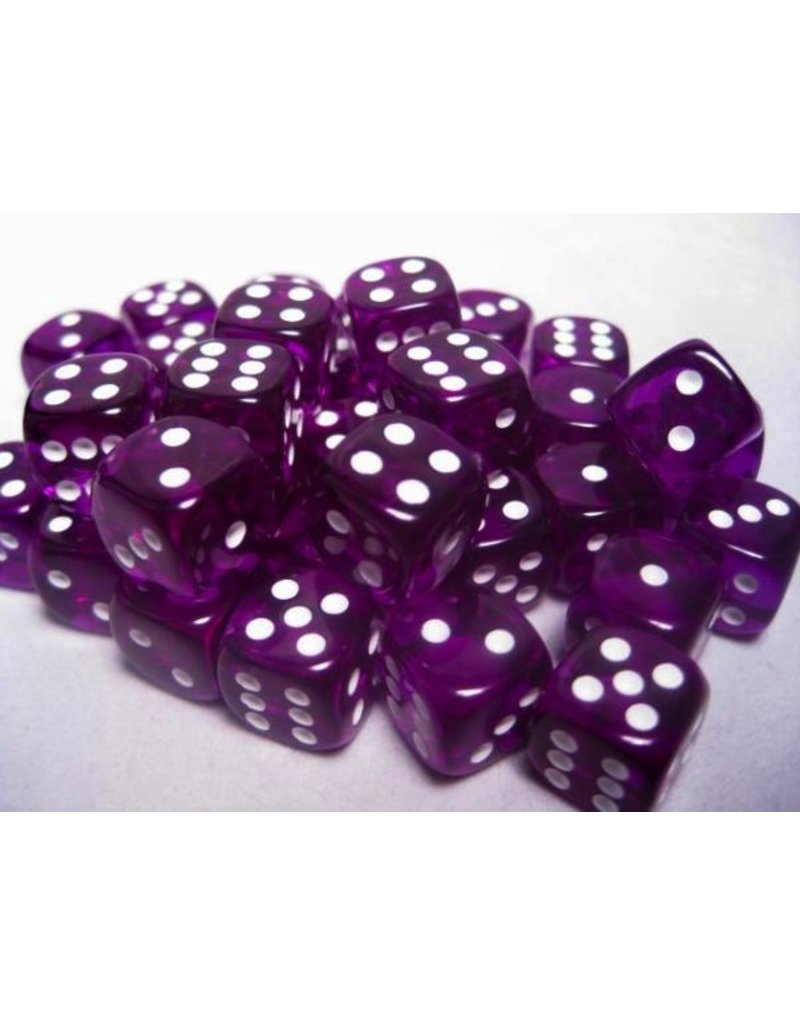 Chessex CHX23807 12mm d6 Translucent Purple with White