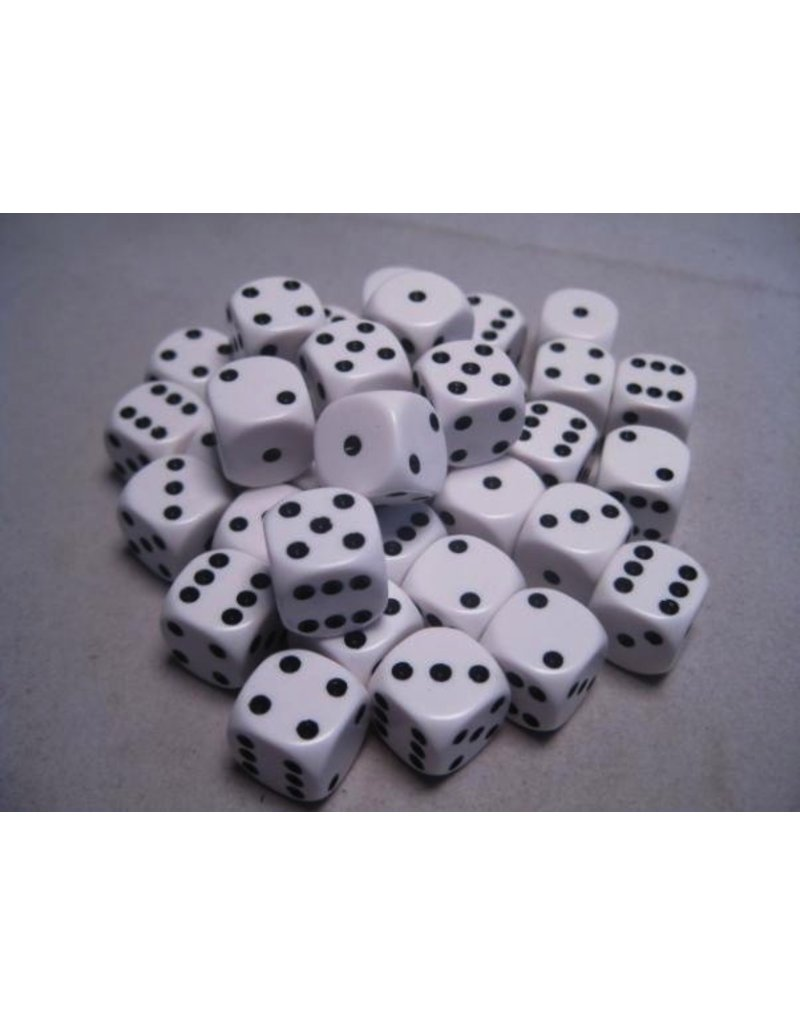 Chessex CHX25801 12mm d6 Opaque White with Black