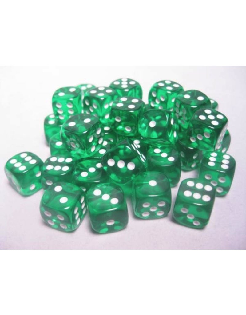 Chessex CHX23805 12mm d6 Translucent Green with White