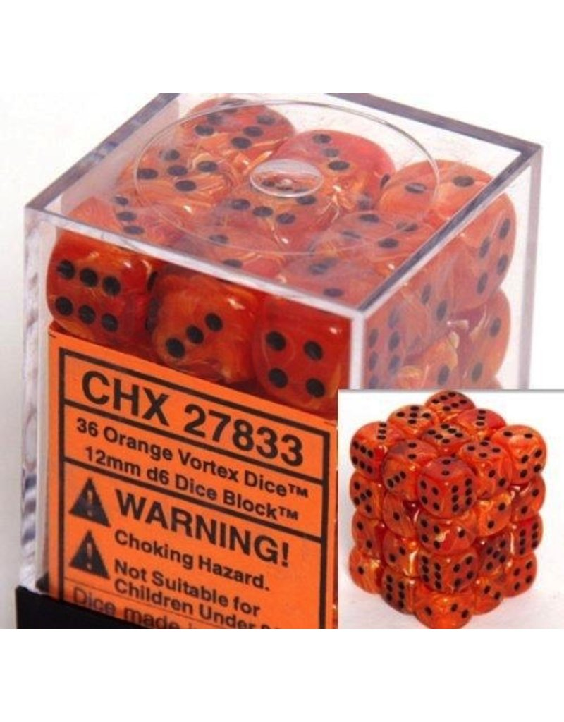 Chessex CHX27833 12mm d6 Vortex Orange with Black