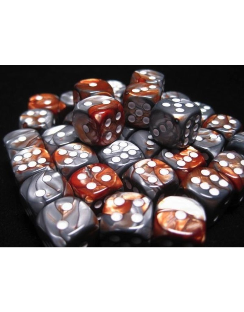Chessex CHX26824 12mm d6 Gemini Copper-Steel with White