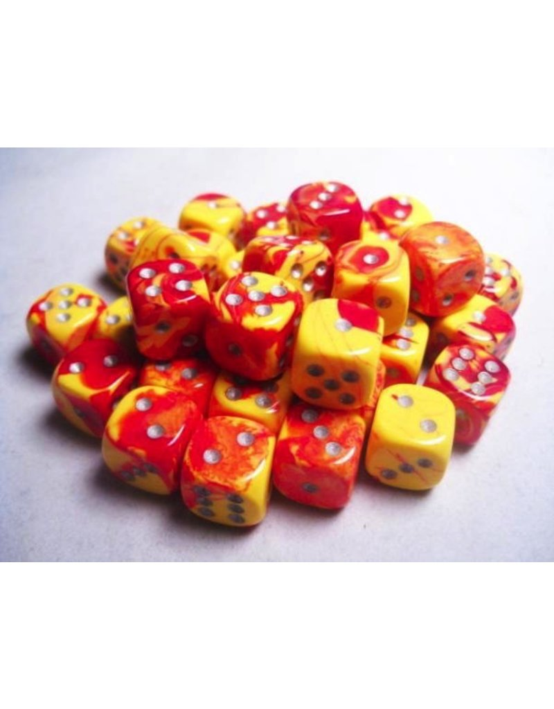 Chessex CHX26850 12mm d6 Gemini Red-Yellow with Silver