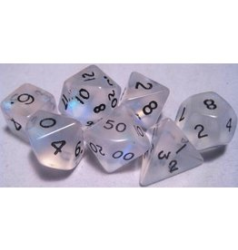 Mystic Keeper Mystic Keeper Gaming Dice: Moonstone Clear Polyhedral Set (7)