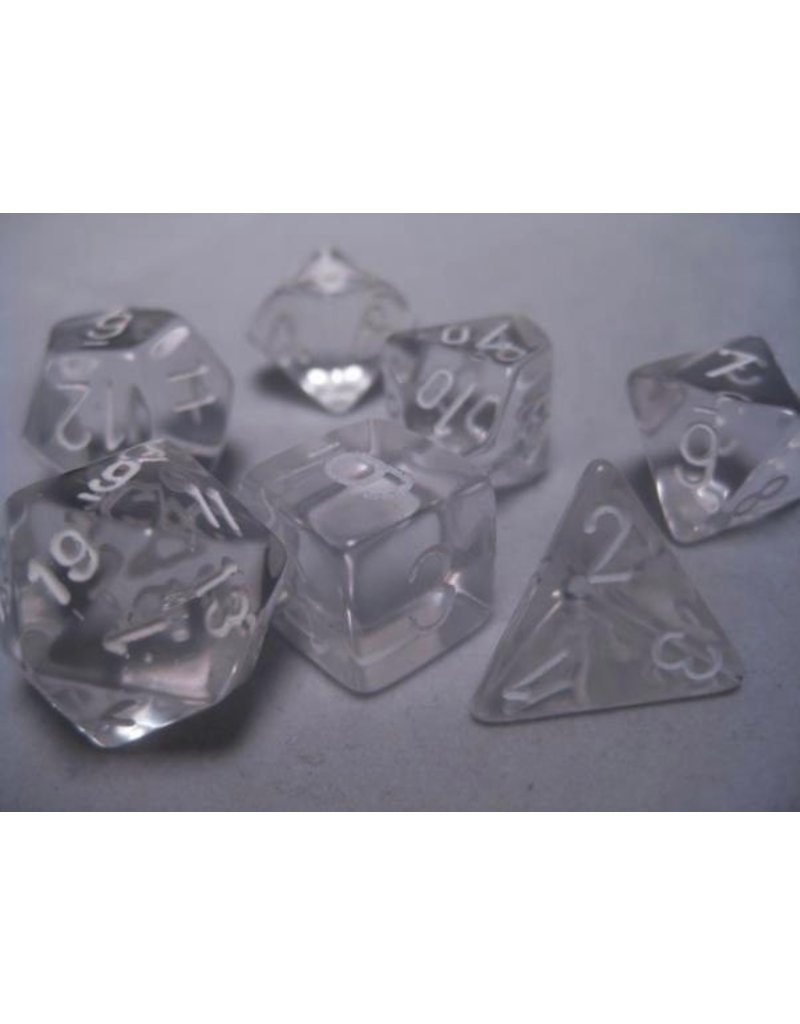 Chessex CHX23001 7 Set Translucent Clear with White