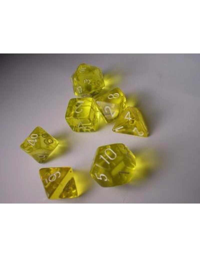 Chessex CHX23002 7 Set Translucent Yellow with White
