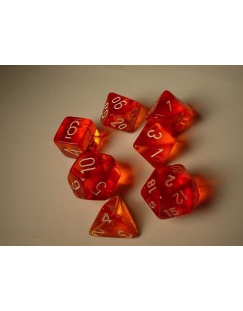 Chessex CHX23003 7 Set Translucent Orange with White