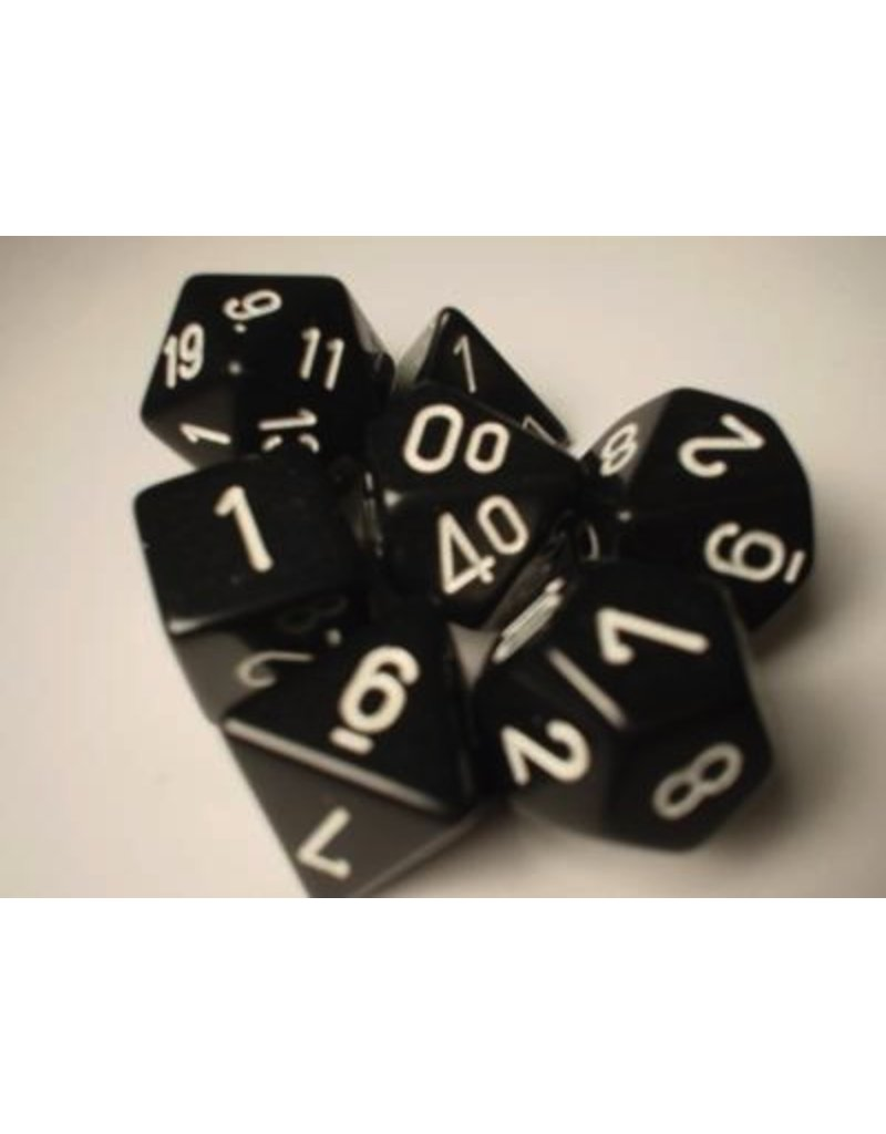 Chessex CHX25408 7 Set Opaque Black with White