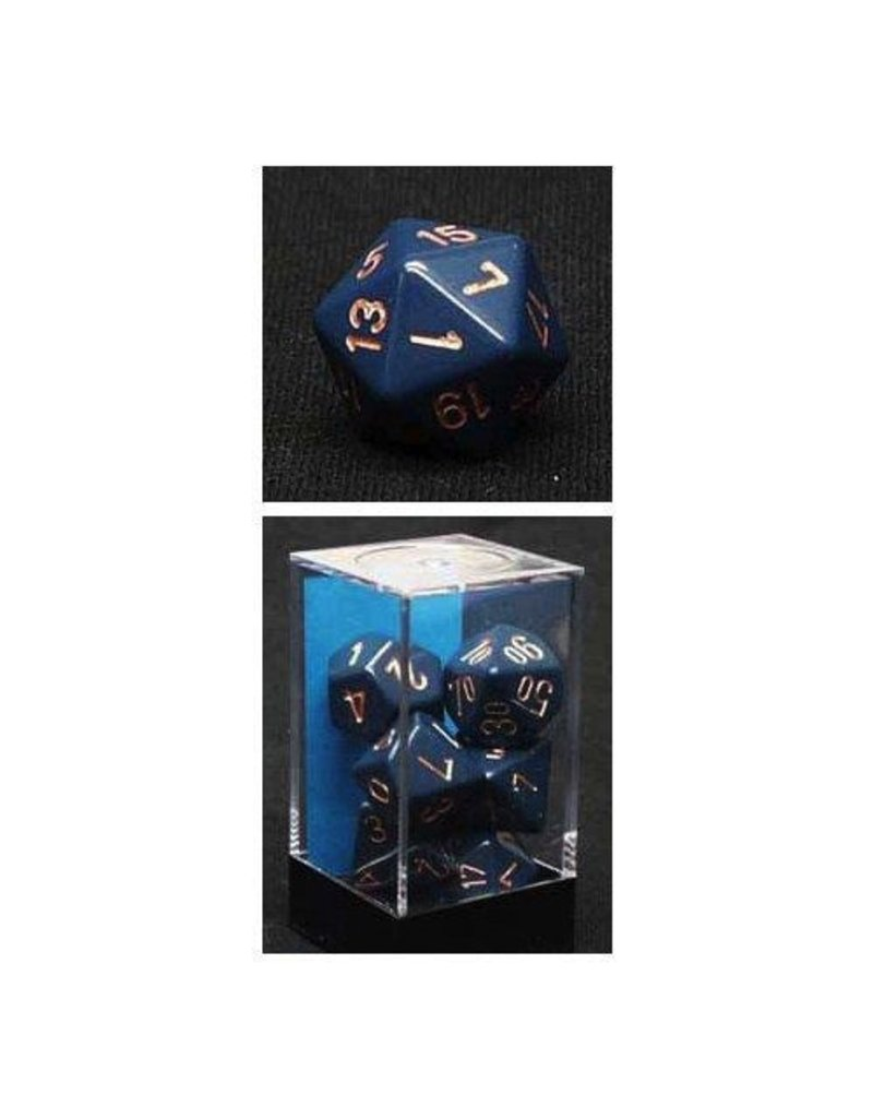 Chessex CHX25426 7 Set Opaque Dusty Blue with Copper