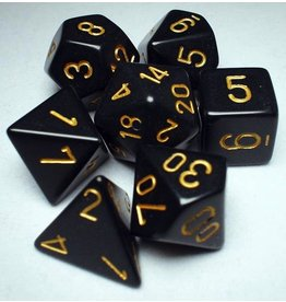 Chessex CHX25428 7 Set Opaque Black with Gold