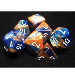 Chessex CHX26422 7 Set Gemini Blue-Gold with White