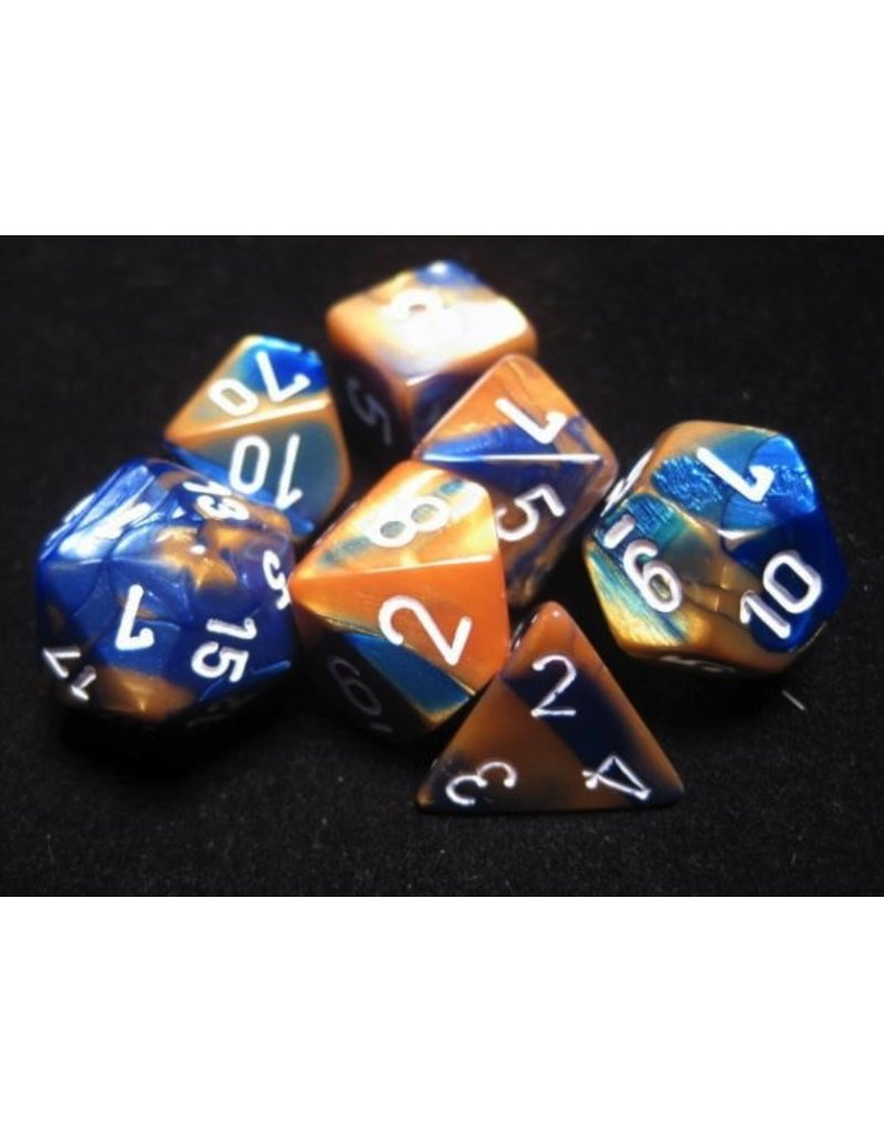 Chessex CHX26422 7 Set Gemini Blue-Gold with White