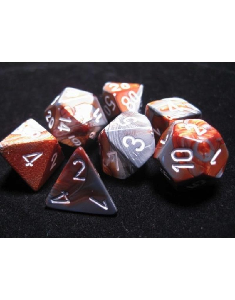 Chessex CHX26424 7 Set Gemini Copper-Steel with White