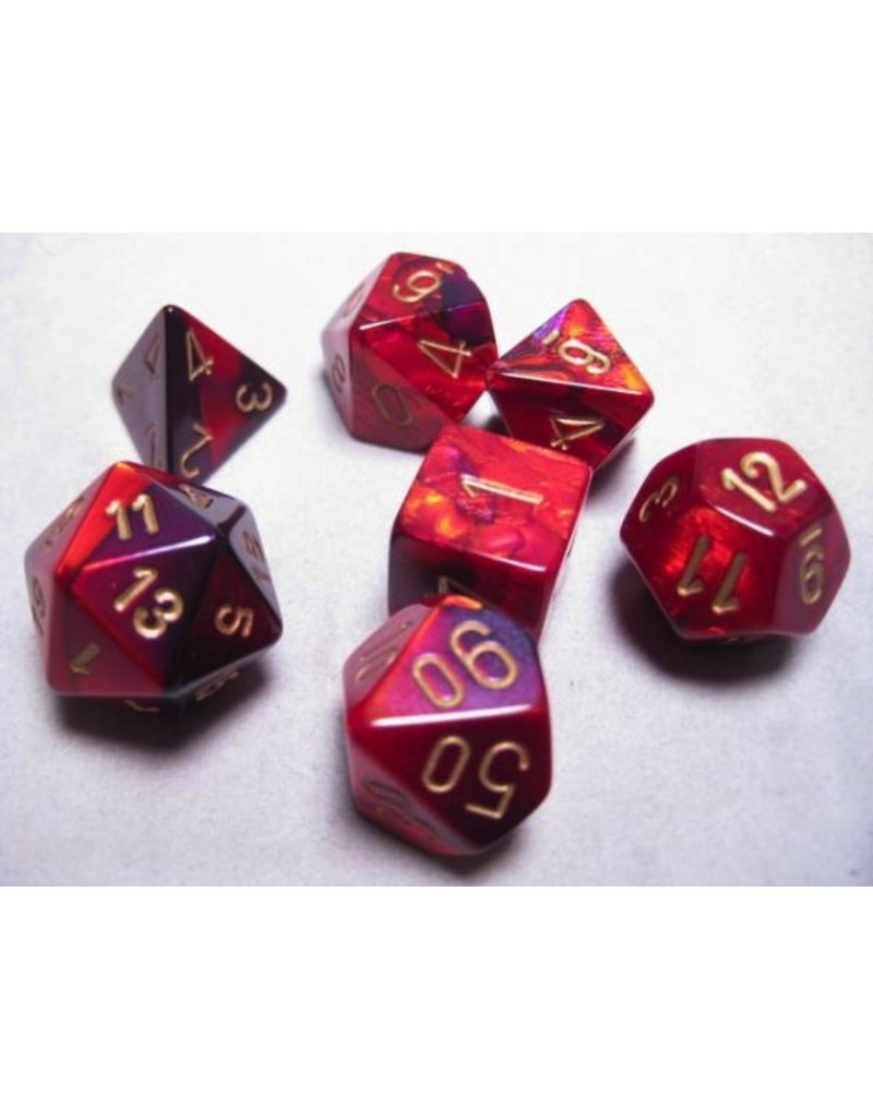 Chessex CHX26426 7 Set Gemini Purple-Red with Gold