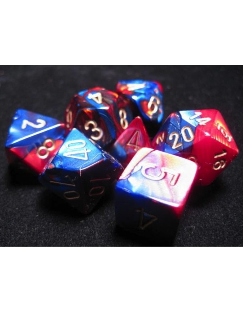 Chessex CHX26429 7 Set Gemini Blue-Red with Gold