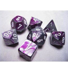 Chessex CHX26432 7 Set Gemini Purple-Steel with white