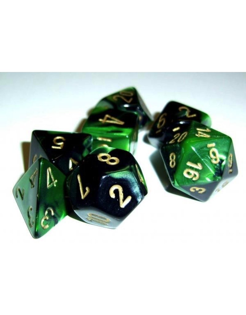Chessex CHX26439 7 Set Gemini Black-Green with Gold