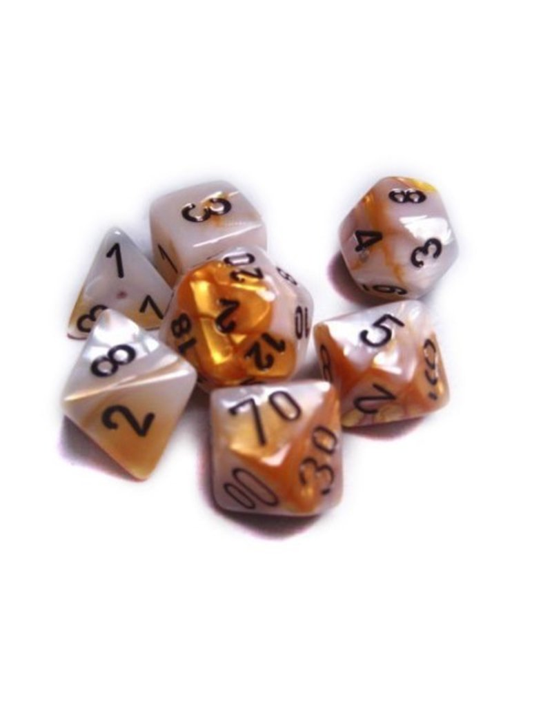 Chessex CHX26448 7 Set Gemini Gold-White with Black