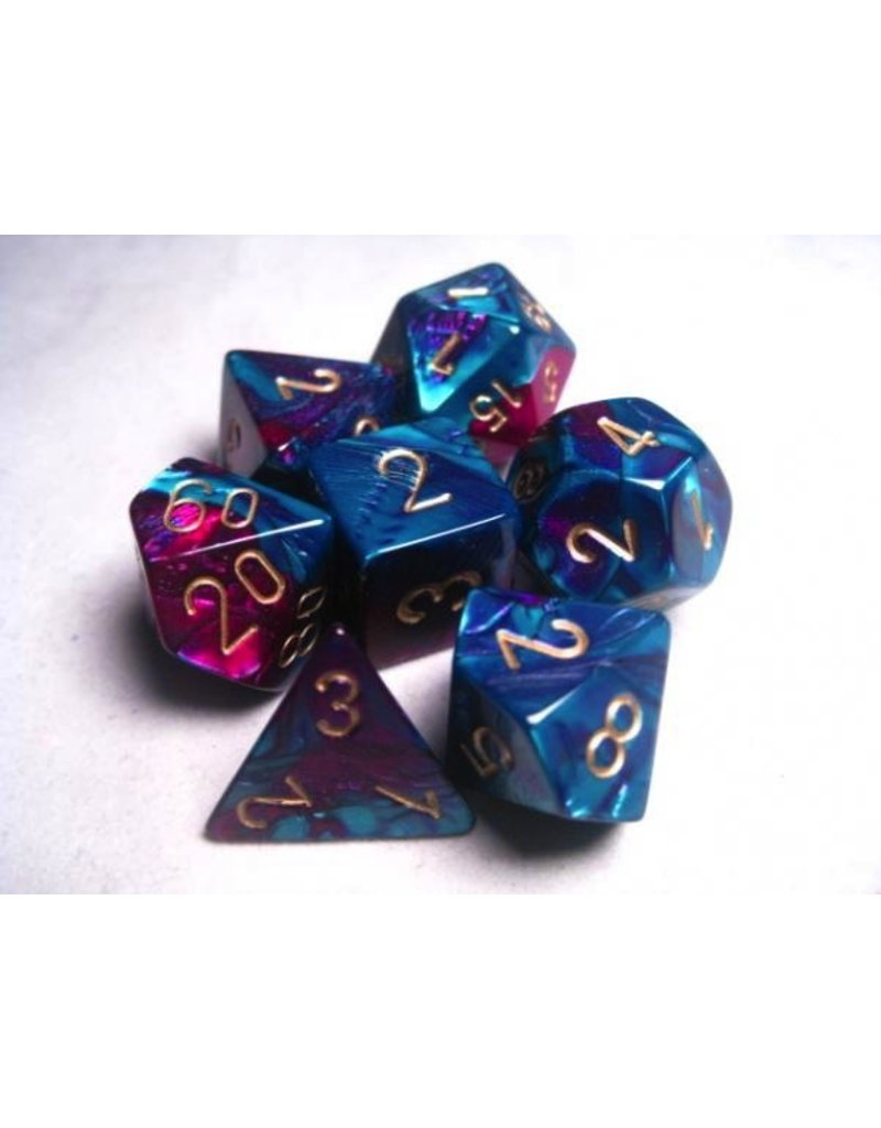Chessex CHX26449 7 Set Gemini Purple-Teal with Gold
