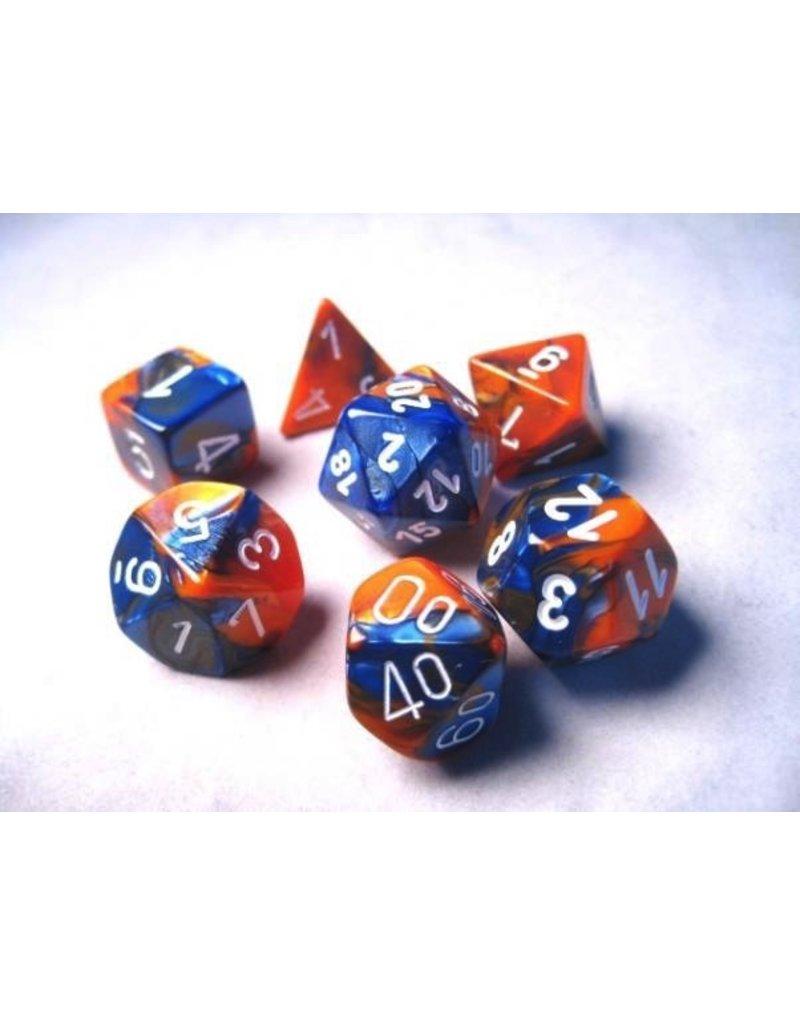 Chessex CHX26452 7 Set Gemini Blue-Orange with White