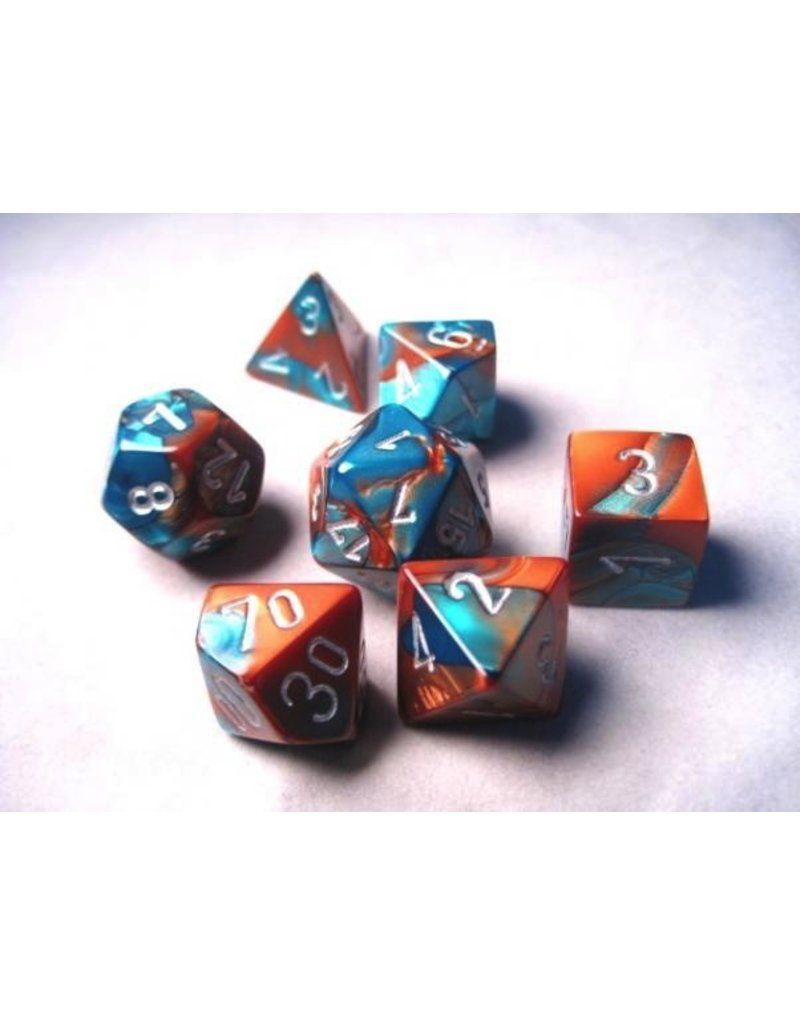 Chessex CHX26453 7 Set Gemini Copper-Teal with Silver