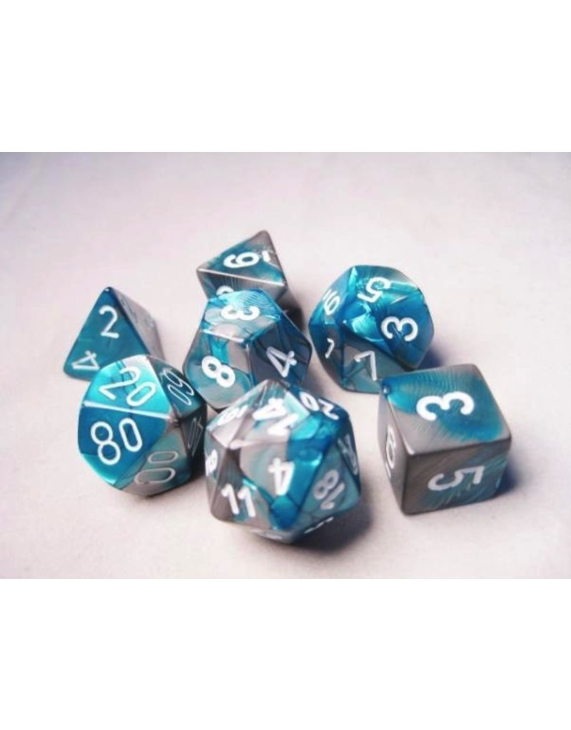 Chessex CHX26456 7 Set Gemini Steel-Teal with White