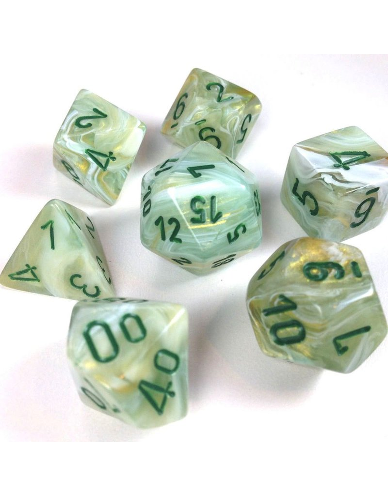 Chessex CHX27409 7 Set Marble Green with Dark Green