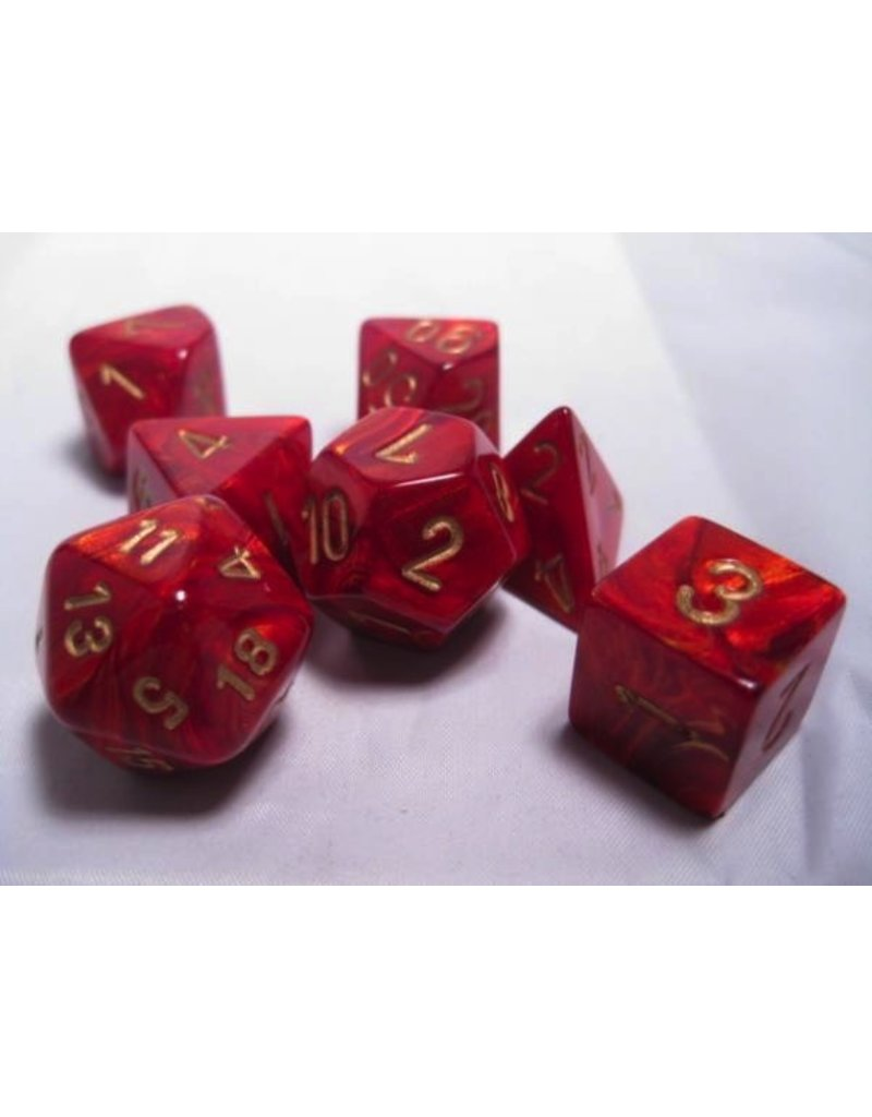 Chessex CHX27414 7 Set Scarab Scarlet with Gold