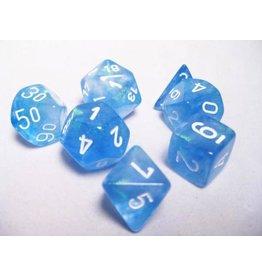 Chessex CHX27426 7 Set Borealis Sky Blue with White