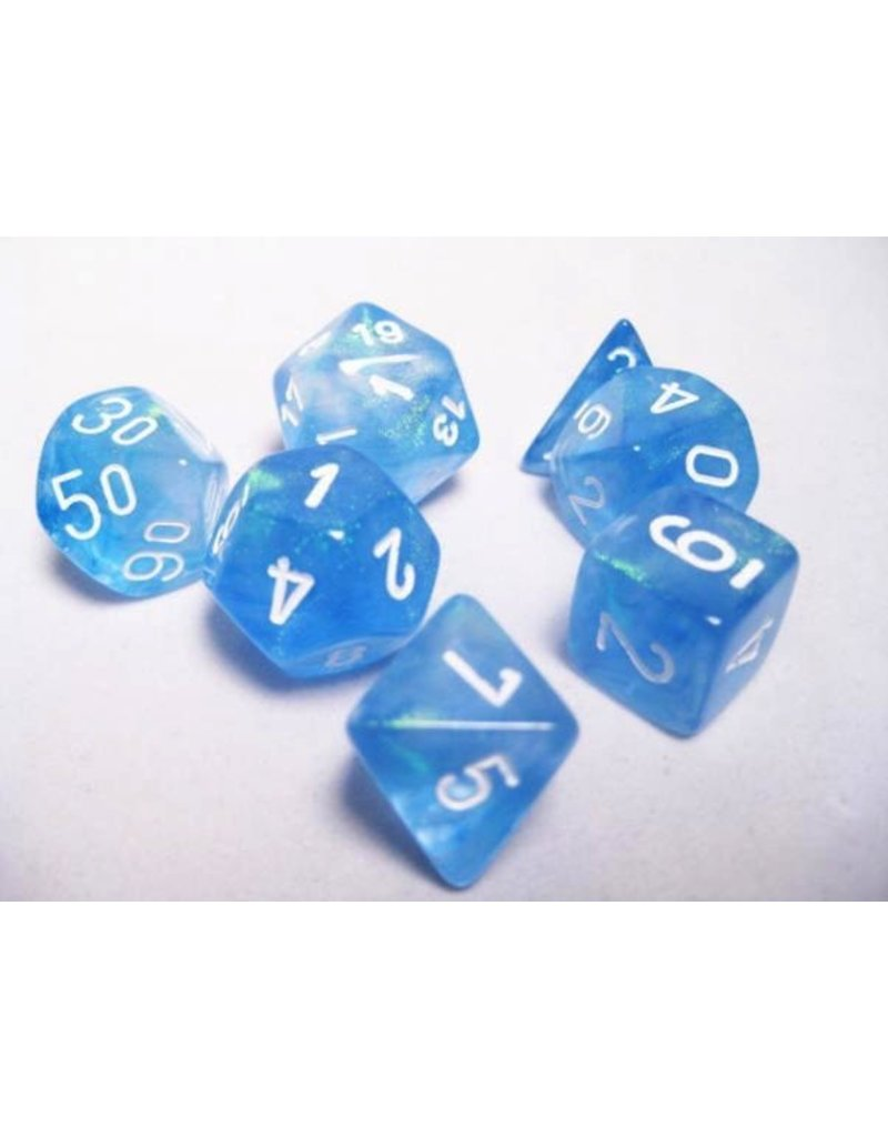 Chessex CHX27426 7 Set Borealis Sky Blue with White