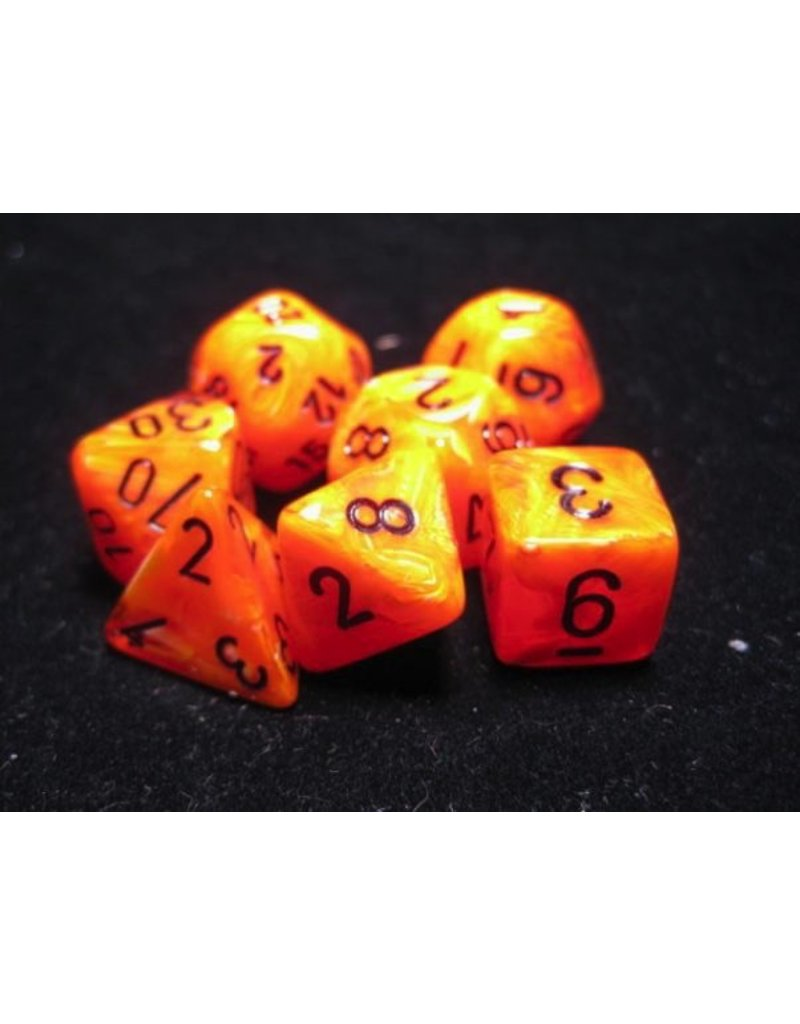 Chessex CHX27433 7 Set Vortex Orange with Black