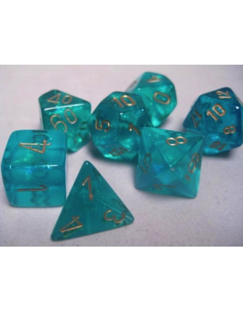 Chessex CHX27486 7 Set Borealis Teal with Gold