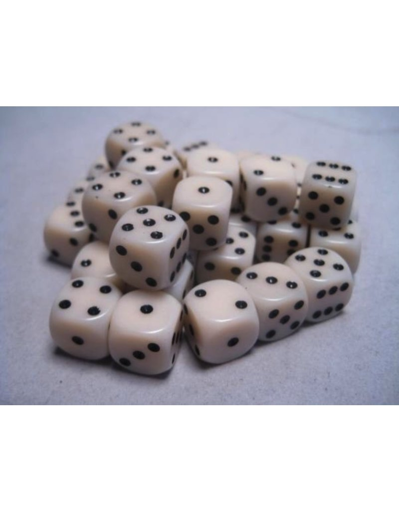 Chessex CHX25800 12mm d6 Opaque Ivory with Black