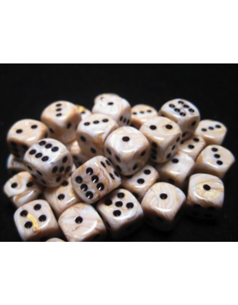 Chessex CHX27802 12mm d6 Marble Ivory with Black