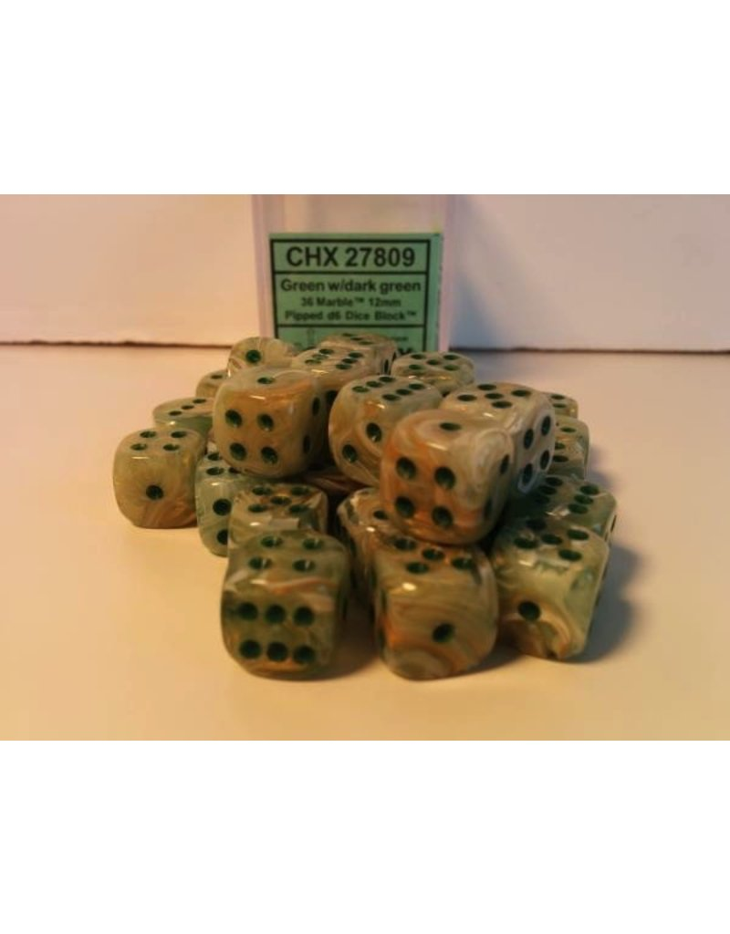 Chessex CHX27809 12mm d6 Marble Green with Dark Green