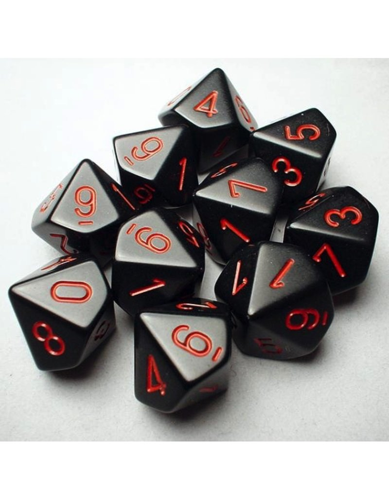 Chessex CHX26218 d10 Opaque Black with Red